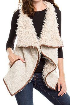 KLKD Women's Solid Shearling Contrast Open Drapey Vest - http://www.darrenblogs.com/2017/02/klkd-womens-solid-shearling-contrast-open-drapey-vest/