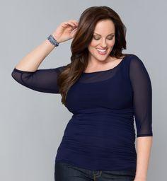 Plus Size Women's Clothing - Marie Mesh Top - Kiyonna