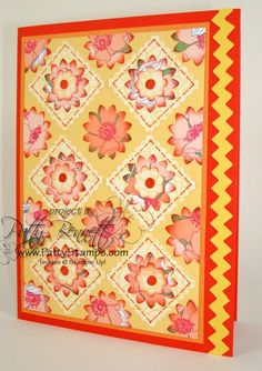 Stampin' Up! ... handmade quilt card  ... yellows and oranges ... puched flowers and squares ... luv the bright colors ...