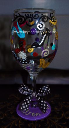 Personalized Hand Painted Wine Glass for Matron of Honor