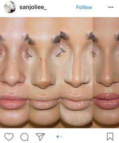 – Contour Tips for a slimmer nose - Makeup Tips Highlighting Nose Makeup, Contour Makeup, Skin Makeup, How To Contour Nose, Liquid Contour, Makeup Salon, Makeup Studio, Airbrush Makeup, Nose Contouring