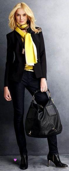 Casual Friday.  Black blazer, dark denim, and yellow print scarf.