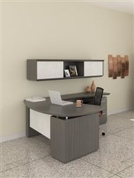 Modern workspace with Mayline Sterling series L shaped desk in textured driftwood with opaque acrylic accents and wall mount hutch.