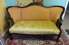 Custom Vintage 1920's Settee with custom upholstery designed by Rusty by Design Antique Auction.  We are giving this away!  Visit Rusty by Design on facebook for details!