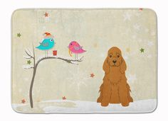 Christmas Presents between Friends Cocker Spaniel Red Machine Washable Memory Foam Mat BB2567RUG