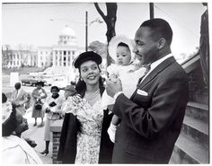 Dr. Martin Luther King Jr., wife, Coretta, and daughter, Yolanda, are shown in 1956, the year the Supreme Court outlawed segregated busing. During a boycott of the Montgomery, Ala., bus system, Dr. King was arrested and his house was bombed.
