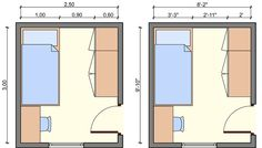 kids bedroom layout, kids bedroom dimensions, kids room measurerements