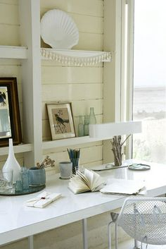 Photography Rachel Whiting | Nautical themed desk space with shelving This would be awesome as a drop leaf desk.