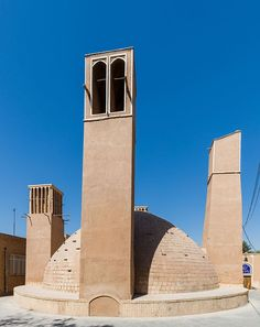 An ab anbar (water reservoir) with double domes and windcatchers (openings near the top of the towers) in the central desert city of Yazd, Iran - Wikipedia