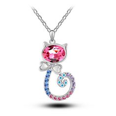 Cute Crystal Kitty Necklace