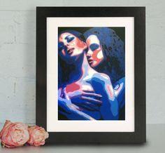 Fine Art Print, Lesbian Art, Lesbian Painting, Women, Female Painting, Sensual Art, Couple Art, Erotic Art, Erotic Painting, Print, Giclee by MelanieGlucksman on Etsy https://www.etsy.com/listing/266853924/fine-art-print-lesbian-art-lesbian