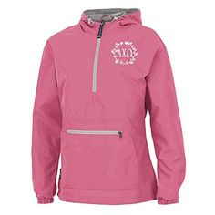 Alpha Chi Omega Chatham Anorak Solid Pullover Small Neon Pink