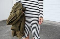 .stripes and a khaki coat- you bet!
