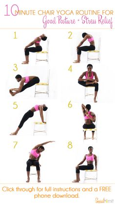 10 Minute Chair Yoga Routine for Good Posture and Stress Relief | Once you're done with this routine, you'll feel some of the pent up stress in your muscles from sitting down melt away and you'll be ready get some more work done! Click through for a FREE phone sized infographic.