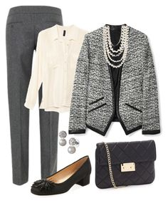 """Return to Work"" by fiftynotfrumpy ❤ liked on Polyvore featuring Great Plains, H&M, Sesto Meucci, DKNY, MICHAEL Michael Kors, pearls, blouses, low heeled shoes and pants"