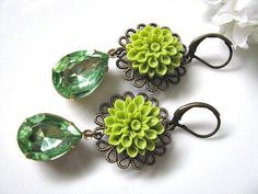 Wasabi Green Dahlia Flower With Vintage Faceted Peridot Teardrops Glass Jewels Earrings - Bride, Bridesmaids, Gift For Her, Gift For Mum