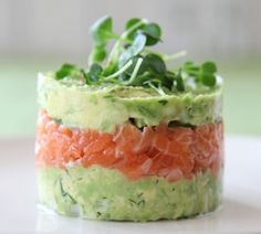 Salmon and Avocado Towers - yummy with Japanese ikura or finely chopped nova!
