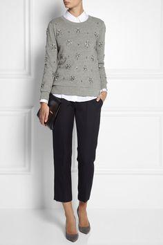 J.Crew | Crystal-embellished cotton sweatshirt, navy pants, but dare I leopard flats/heels?