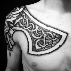 """""""A dream of a good axe"""" done today on Connor from down under. Thanks mate #tattoooftheday #kunstenpåkroppen #tattoo #vikingtattoo #nordictattoo #nordicdotwork #truenordictattoo #handdrawndirectlyonthebody"""