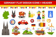 Germany Flat Design Icons Set by Decorwith.me Shop on Creative Market
