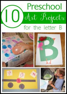 Crafts and lots of fun process art for the letter B (I like this blog! Free printables. Lots of ideas.)