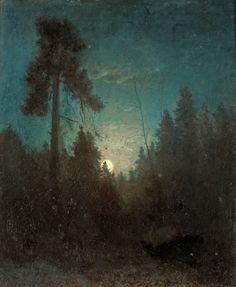"""Carl Fredrik Hill 1849-1911 """"Månsken med uppskjutande tall"""" (Tall pine and rising moon), ca. 1875. Sweden."""