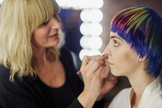 Aveda artist Janell Geason preps a model backstage at our #AvedaColor collection shoot. #AvedaMakeup