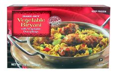 """Trader Joe's Vegetable Biryani with Vegetable Dumplings. This is TJ's new biryani. I wish it wasn't packaged like this, but the """"dumplings"""" are a delightful addition."""