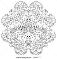 Black and white mandala. Vector illustration.