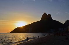 Dois Irmãos (Two Brothers) at sunset, Ipanema Beach, Brazil.