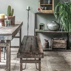 Wood and Metal Dining Bench, £273 from Smithers of Stamford affiliate partner Dining Chairs Uk, Vintage Dining Chairs, Industrial Dining Chairs, Leather Dining Room Chairs, Dining Table, Industrial Farmhouse, Coffee Table Plans, Industrial Style Furniture, Restaurant Seating