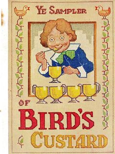 ORIGINAL MAGAZINE AD FOR BIRD'S CUSTARD - YE SAMPLER - DECEMBER 1929 Vintage Advertising Signs, Vintage Advertisements, Bird's Custard, Tea Biscuits, Retro Ads, Old Magazines, Magazine Ads, Indie, December
