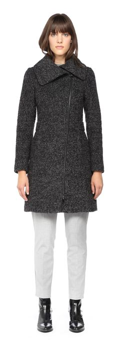 Soïa & Kyo - LEILA FITTED BLACK WOOL WINTER COAT WITH LARGE COLLAR FOR WOMEN