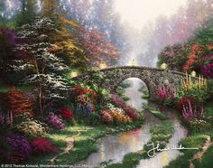 Stillwater Bridge by Thomas Kinkade  The cooling, tranquil feeling of resting beside still waters... what trouble or pain could not be hushed by such moments?