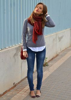 Gray sweater, white button down, jeans, cayenne scarf
