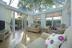 Beautiful Orangery/Sunroom, with Ultraframe Skylight Roof, and open out French Doors, with Stunning Brickwork to Match the Existing Beautiful Property. Conservatory Prices, Conservatory Design, Orangery Roof, Vinyl Wood Flooring, Extension Designs, Roof Lantern, Roofing Systems, Light And Space, Roof Design