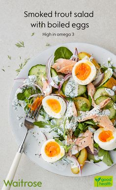Nothing beats a fresh salad on a summer's day! Try our smoked trout salad for a refreshing lunch. Top with boiled eggs and scatter with dill. Cook's tip: simmer the eggs for 7 minutes for the perfect boiled egg! See the full recipe on the Waitrose website.