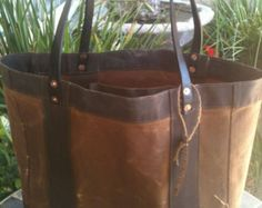 waxed canvas tote zippered bag by mymanSak on Etsy