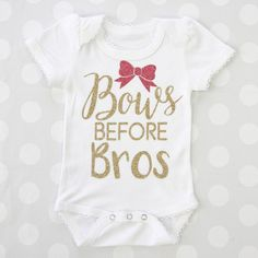Looking for that perfect shower gift? This bows before bros onesie is so cute. Make this cute saying your own by picking your own vinyl color and onesie color.