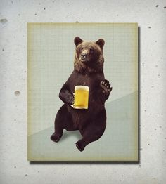 Bears Love Beer Wood Block | Art Prints | Lucius Art