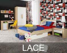 Kolekcja Lace to propozycja mebli dla starszych dzieci i młodzieży. Korpusy tych młodzieżowych mebli wykonane zostały w dekorze Dąb Sonoma, który realistycznie odwzorowuje usłojenie drewna Toddler Bed, Kids Rugs, Lace, Furniture, Home Decor, Child Bed, Decoration Home, Kid Friendly Rugs, Room Decor