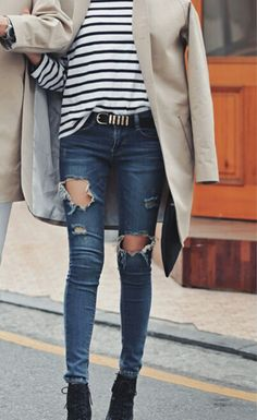 Ripped jeans + stipes will always be classic