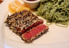 Sesame-Crusted Ahi Tuna with Thai Ginger Dipping Sauce Delicious seafood dinner dish with an exquisite taste! Best Fish Recipes, Tuna Recipes, Favorite Recipes, Recipies, Healthy Recipes, Grilled Tuna Steaks, Seared Tuna, Yellowfin Tuna, Kuchen