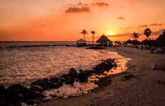 Photograph of Sunset on Island of Curacao on Canvas by TheShabbySandDollar on Etsy
