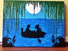 """The little mermaid's ariel and Eric """"kiss the girl"""" melted crayon art"""