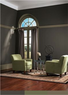 Love these colors together! Greenfield (SW 6439) chairs #green