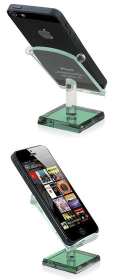 Great men's gift.  Glass Smartphone Display Rack - Green Stand Holder for iPhone and Samsung $7.69 www.onpointexecutivecenter.com #holder #iphone #samsung