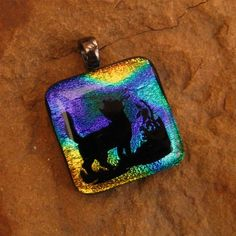 Fused Glass Cat Pendant Cat Dichroic Jewelry Fused by GlassCat