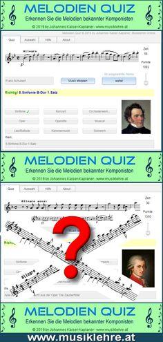 Erkenne die Melodien großer Komponisten. 84 Melodien aus bekannten, klassischen Werken stehen zur Auswahl. Erkennst du sie anhand der Noten und der Musik... Music Software, Quiz, Symbols, Letters, Orchestra, Recital, Opera, Classic, Icons
