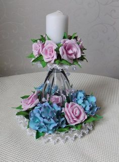 Parties And Other Events Wine Glass Crafts, Jar Crafts, Diy And Crafts, Flower Crafts, Diy Flowers, Paper Flowers, Wine Glass Candle Holder, Teacup Crafts, Diy Y Manualidades
